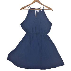 Monteau Slate Blue V Neck Summer Dress SZ M